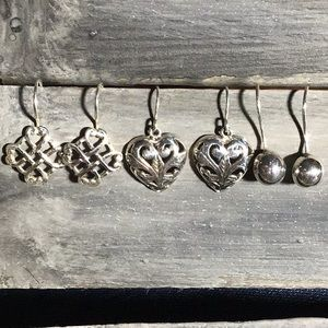 Jewelry - 💖3 Pairs Sterling Silver Earrings